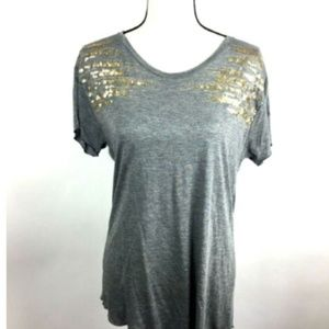 Zara W Collection B Gray Knit Top w/Gold sequins